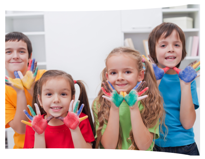 Group of kids with painting in the hands